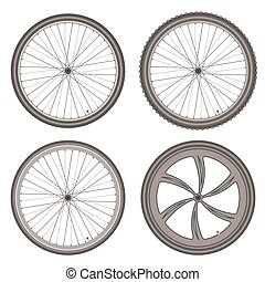 bicycle wheels different set on white background vector
