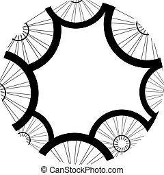 bicycle wheels pattern isolated on white background