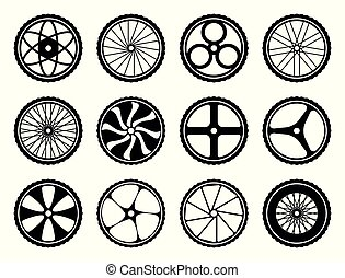 Bicycle wheels set with tires and spokes. Bike icons component