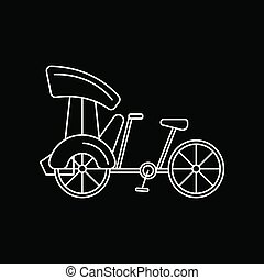 Bicycle white icon, outline style