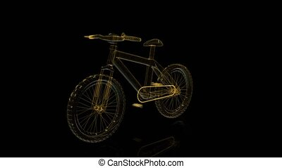 Bicycle wireframe x-ray on rotating black background....