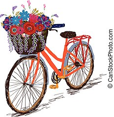 Bicycle with a basket full