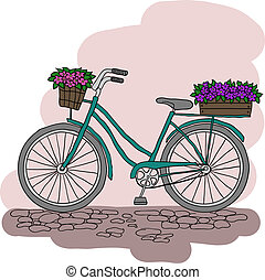 Bicycle with a basket of flowers
