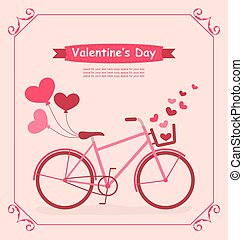 Bicycle with balloons and hearts Romantic Birthday card