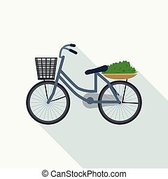 Bicycle with basket icon, flat style