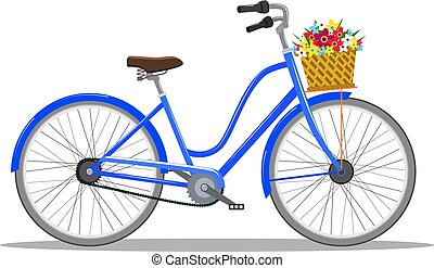 Bicycle with basket of flowers.