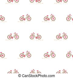 Bicycle with basket on the front wheel white seamless pattern.