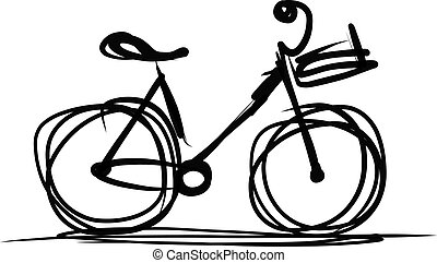 Bicycle with basket sketch for your design