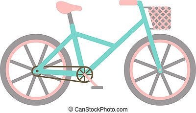 Bicycle with basket vector illustration.
