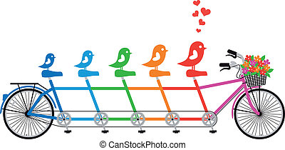 bicycle with bird family, vector - tandem bicycle with bird...