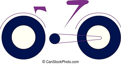 Bicycle with blue wide tyres vector or color illustration -...
