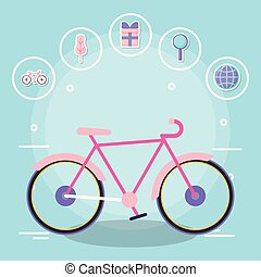 bicycle with delivery service icons