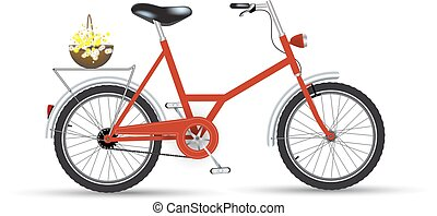 Bicycle with flowers icon design isolated.