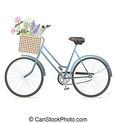 Bicycle with flowers in basket.