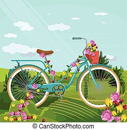 Bicycle with flowers in par