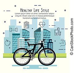 bicycle with healthy lifestyle icons