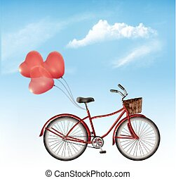 Bicycle with red heart shaped balloons in front of a blue sky background. Vector.