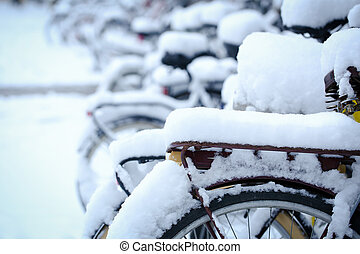 Bicycle with snow - Bicycle with a thick snow in a winter ...