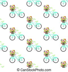 Bicycle with spring flowers seamless pattern