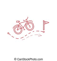 Bicycle With The Route Marked With Dotted Line Hand Drawn Childish Illustration In Funny Comic Style On White Background
