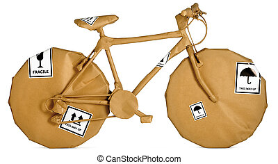 bicycle wrapped in brown paper ready for an office move...