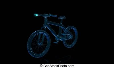 Bicycle x-ray on rotating black background. Rotating...