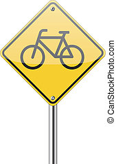 Bicycle yellow road sign