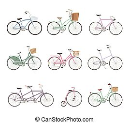 bicycles, セット, レトロ, 背景, 白