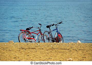 bicycles, 浜, 2