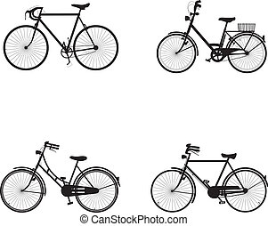 Bicycles 1 - four detailed bicycles black and white...