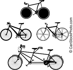 Bicycles 2 - four detailed bicycles black and white...