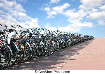 A row of bicycles