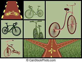 bicycles and roads set