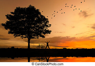 bicycles., arbres, silhouette, gens
