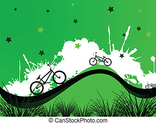 bicycles background, abstract vector art illustration