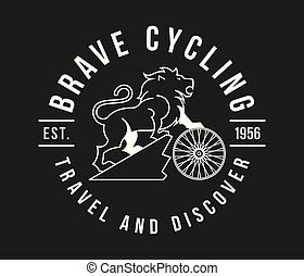 Bicycles brave cycling white on black