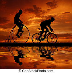 bicycles, cyclistes, silhouette