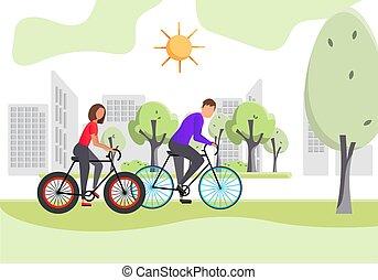 bicycles, człowiek, park, ludzie, kobieta, jeżdżenie