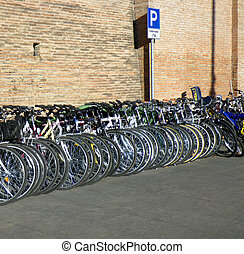 bicycles, dans, a, row.