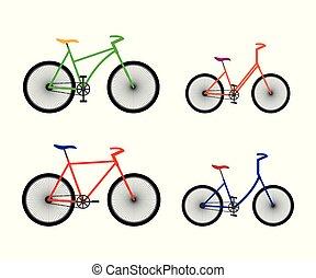 bicycles., diferente, tipos