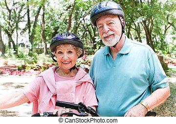 bicycles, egészséges, lovagol, seniors