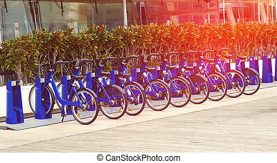 Bicycles for rent in city
