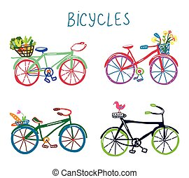 Bicycles funny romantic set with flowers and bird