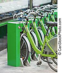 bicycles, garé, rue, bangkok, thaïlande