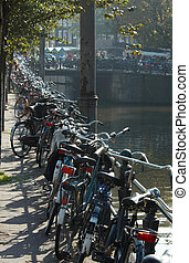 bicycles in amsterdam along the canal