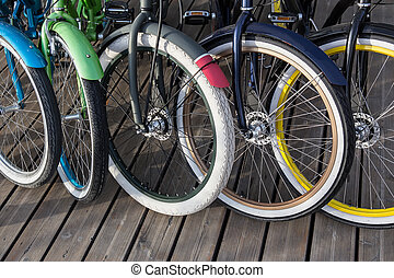 bicycles in the Parking lot in a row