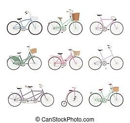 bicycles, jogo, retro, fundo, branca