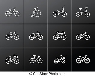 bicycles, métallique, -, icônes