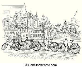 Bicycles on bridge over the canals of Amsterdam, Netherlands. Landmark of Netherlands. Vector hand drawing illustration in black color isolated on white background.