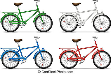 Bicycles on white background